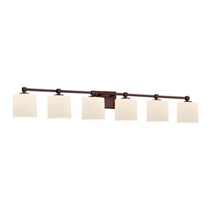Fusion - Tetra Dark Bronze Six-Light LED Bath Bar with Oval Opal Shade