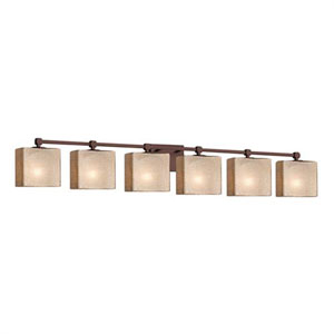 Fusion - Tetra Dark Bronze Six-Light LED Bath Bar with Rectangle Mercury Glass Shade
