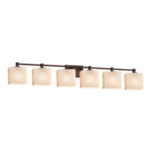 Fusion - Tetra Dark Bronze Six-Light LED Bath Bar with Rectangle Opal Shade