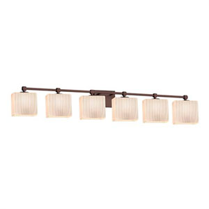 Fusion - Tetra Dark Bronze Six-Light Bath Bar with Rectangle Ribbon Shade