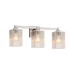 Fusion Regency Brushed Nickel Three-Light LED Bath Vanity with Seeded Glass