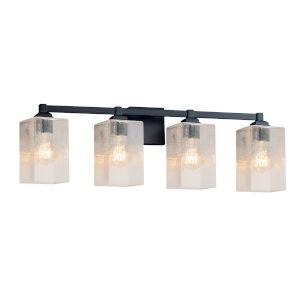 Fusion Regency Matte Black Four-Light LED Square Bath Vanity