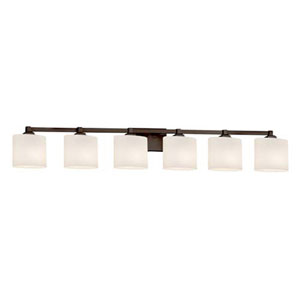 Fusion - Regency Dark Bronze Six-Light Bath Bar with Oval Opal Shade