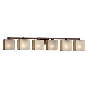 Fusion - Regency Polished Chrome Six-Light Bath Bar with Rectangle Mercury Glass Shade