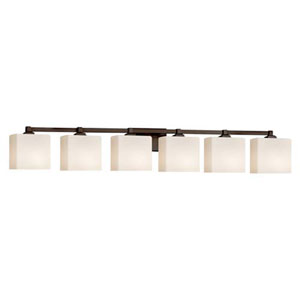 Fusion - Regency Dark Bronze Six-Light Bath Bar with Rectangle Opal Shade