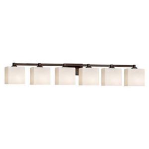 Fusion - Regency Dark Bronze Six-Light Bath Bar with Rectangle Opal Shade