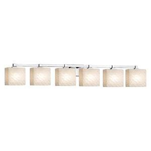 Fusion - Regency Polished Chrome Six-Light Bath Bar with Rectangle Weave Shade