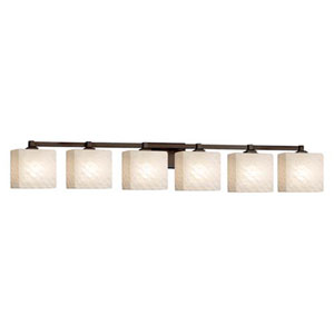 Fusion - Regency Dark Bronze Six-Light Bath Bar with Rectangle Weave Shade