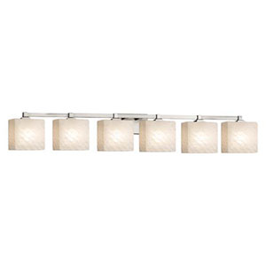 Fusion - Regency Brushed Nickel Six-Light Bath Bar with Rectangle Weave Shade