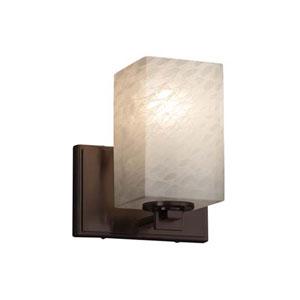 Fusion - Era Dark Bronze LED LED Wall Sconce with Square Flat Rim Weave Shade
