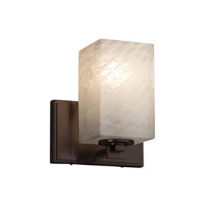 Fusion - Era Dark Bronze One-Light Wall Sconce with Square Flat Rim Weave Shade