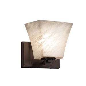 Fusion - Era Dark Bronze LED LED Wall Sconce with Square Flared Weave Shade