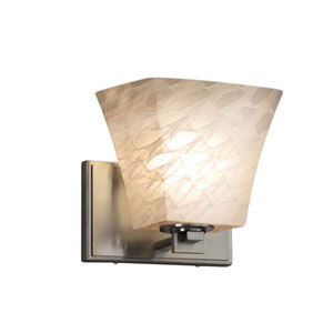 Fusion - Era Brushed Nickel One-Light Wall Sconce with Square Flared Weave Shade