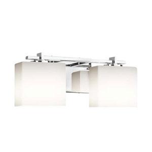 Fusion - Era Polished Chrome Two-Light LED Bath Bar with Rectangle Opal Shade