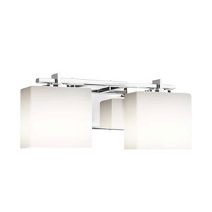 Fusion - Era Polished Chrome Two-Light Bath Bar with Rectangle Opal Shade