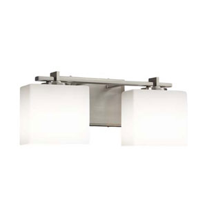 Fusion - Era Brushed Nickel Two-Light Bath Bar with Rectangle Opal Shade