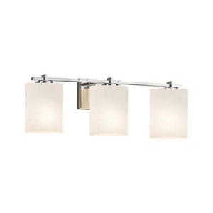 Fusion - Era Polished Chrome Three-Light LED Bath Bar with Cylinder Flat Rim Opal Shade