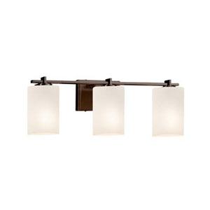 Fusion - Era Dark Bronze Three-Light LED Bath Bar with Cylinder Flat Rim Opal Shade