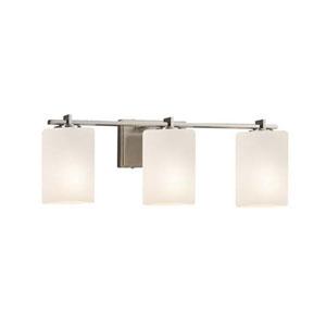 Fusion - Era Brushed Nickel Three-Light Bath Bar with Cylinder Flat Rim Opal Shade