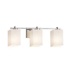 Fusion - Era Polished Chrome Three-Light LED Bath Bar with Square Flat Rim Opal Shade