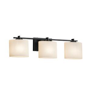 Fusion Era Matte Black Three-Light LED Bath Vanity with Oval Shade