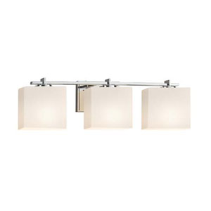 Fusion - Era Polished Chrome Three-Light Bath Bar with Rectangle Opal Shade