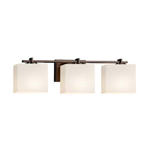 Fusion - Era Dark Bronze Three-Light LED Bath Bar with Rectangle Opal Shade