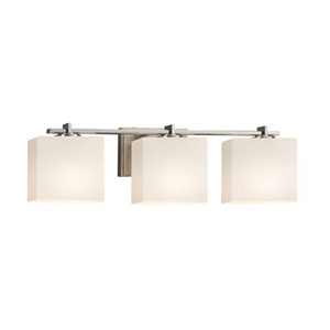 Fusion - Era Brushed Nickel Three-Light Bath Bar with Rectangle Opal Shade