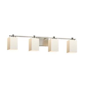 Fusion - Era Brushed Nickel Four-Light LED Bath Bar with Square Flat Rim Opal Shade