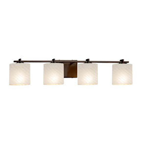 Fusion - Era Dark Bronze Four-Light LED Bath Bar with Oval Weave Shade