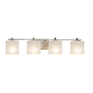 Fusion - Era Brushed Nickel Four-Light LED Bath Bar with Oval Weave Shade