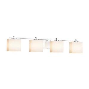 Fusion - Era Polished Chrome Four-Light LED Bath Bar with Rectangle Opal Shade