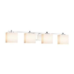 Fusion - Era Matte Black Four-Light Bath Bar with Rectangle Opal Shade