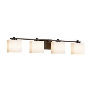 Fusion - Era Dark Bronze Four-Light LED Bath Bar with Rectangle Opal Shade