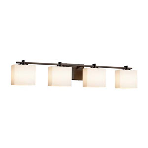 Fusion - Era Dark Bronze Four-Light Bath Bar with Rectangle Opal Shade