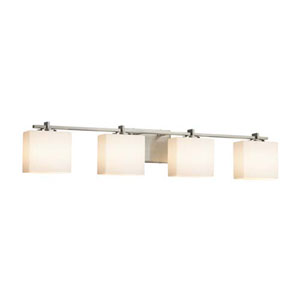 Fusion - Era Brushed Nickel Four-Light Bath Bar with Rectangle Opal Shade