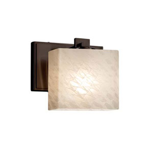 Fusion - Era Matte Black LED LED Wall Sconce with Rectangle Weave Shade