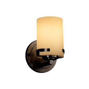 Fusion - Atlas Dark Bronze LED LED Wall Sconce with Cylinder Flat Rim Almond Shade