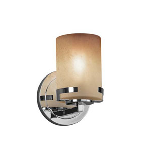 Fusion - Atlas Polished Chrome LED LED Wall Sconce with Cylinder Flat Rim Caramel Shade