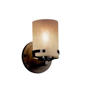 Fusion - Atlas Dark Bronze LED LED Wall Sconce with Cylinder Flat Rim Caramel Shade