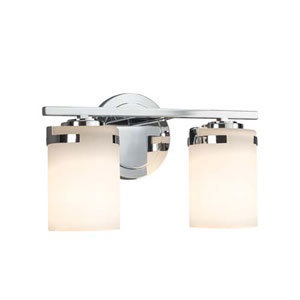 Fusion - Atlas Polished Chrome Two-Light LED Bath Bar with Cylinder Flat Rim Opal Shade