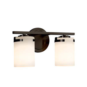 Fusion - Atlas Dark Bronze Two-Light LED Bath Bar with Cylinder Flat Rim Opal Shade
