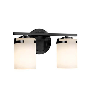 Fusion - Atlas Matte Black Two-Light LED Bath Bar with Cylinder Flat Rim Opal Shade