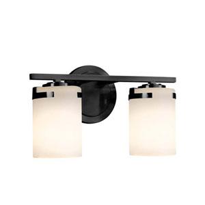 Fusion - Atlas Matte Black Two-Light Bath Bar with Cylinder Flat Rim Opal Shade