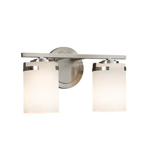 Fusion - Atlas Brushed Nickel Two-Light LED Bath Bar with Cylinder Flat Rim Opal Shade