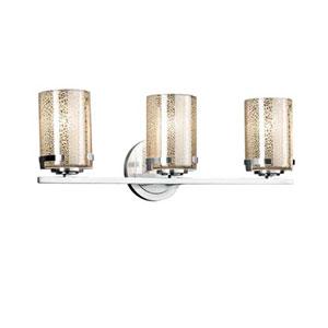 Fusion - Atlas Matte Black Three-Light LED Bath Bar with Cylinder Flat Rim Ribbon Shade