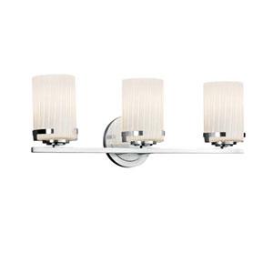 Fusion - Atlas Polished Chrome Three-Light LED Bath Bar with Cylinder Flat Rim Ribbon Shade