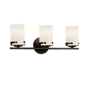 Fusion - Atlas Dark Bronze Three-Light LED Bath Bar with Cylinder Flat Rim Ribbon Shade