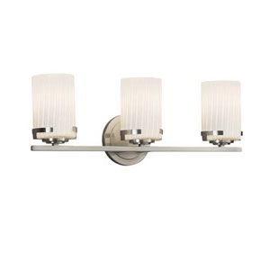 Fusion - Atlas Brushed Nickel Three-Light LED Bath Bar with Cylinder Flat Rim Ribbon Shade