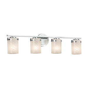 Fusion - Atlas Polished Chrome Four-Light Bath Bar with Cylinder Flat Rim Weave Shade